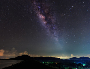 The clearly milky way fover the montain