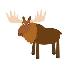 Cute cartoon moose vector illustration