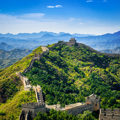 Great Wall of China on summer day, Jinshanling section near Beijing