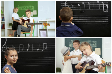 Collage with pupils having music lesson in classroom at elementary school