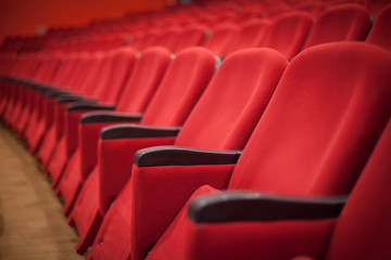 empty red cinema or theater seats
