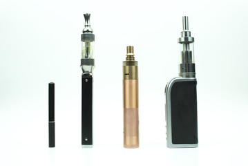 Evolution of electronic cigarettes - isolated on white background
