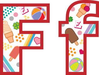 Litera F, alfabet, lato
