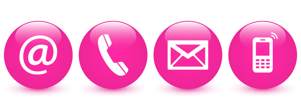 Contact Us – Set of pink glossy ball buttons, icons