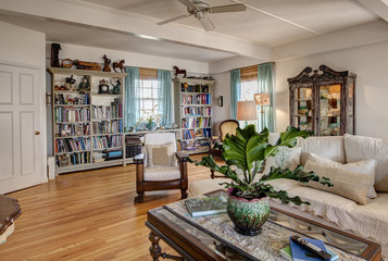 Home library with books