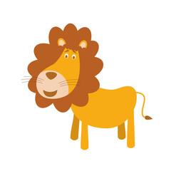 Cute cartoon lion vector illustration
