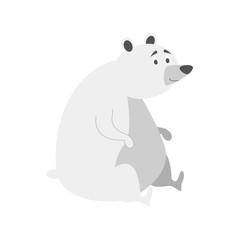 Cute cartoon polar bear vector illustration