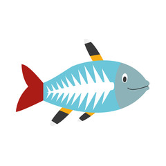 Cute cartoon x-ray fish vector illustration