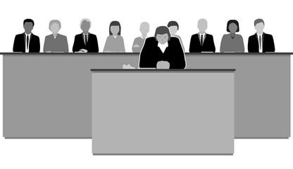 domstol med kvinnlig domare och jury