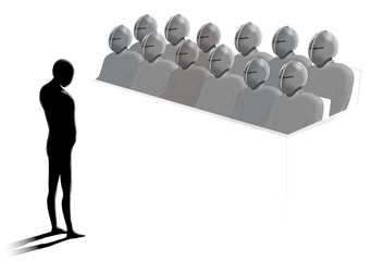 Ensam människa framför en anonym jury,