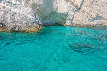 Clear blue water in Zakynthos, Greece