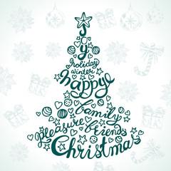 Christmas tree with stars, Christmas balls and calligraphy inscr