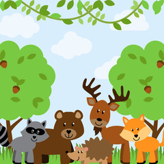 Forest Animals Vector Background