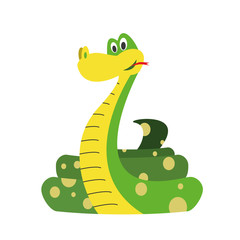 Cute cartoon snake vector illustration