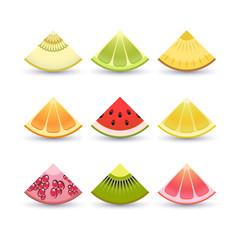 Fruit icon set. Slices of: lemon, kiwi, orange, pomegranate, pineapple, grapefruit, lime, watermelon, melon, pomegranate