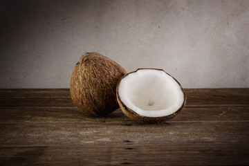 fresh coconuts on old wooden