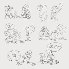 Vector line hand drawing cave men illustrations set
