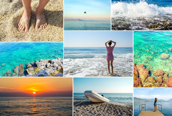 Mosaic travel collage of summer photos