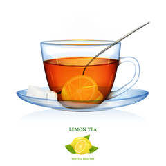 Lemon Tea illustration. Vector. Beautiful illustration of lemon tea with two peaces of sugar and spoon. Glass cup and saucer.