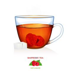 Raspberry Tea illustration. Vector. Beautiful illustration of raspberry tea with two peaces of sugar. Glass cup.