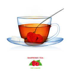 Raspberry Tea illustration. Vector. Beautiful illustration of raspberry tea with two peaces of sugar and spoon. Glass cup and saucer.