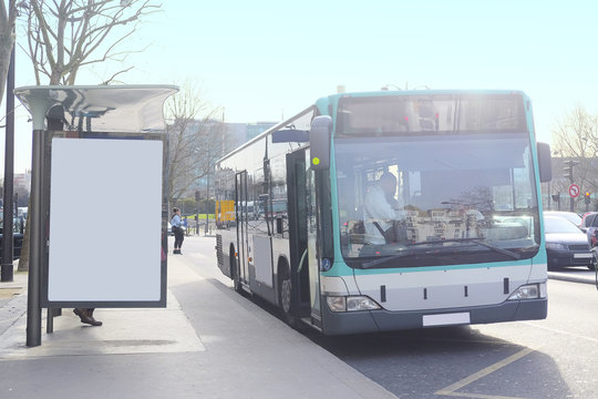 Paris, France, February 6, 2016: Bus  stop on the street of Paris, France