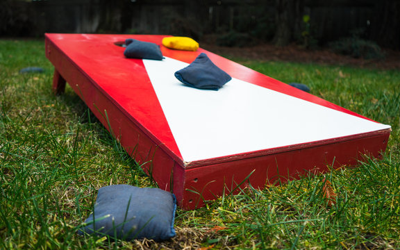 Cornhole Toss Game Board Close-up