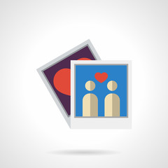Flat color family photo vector icon