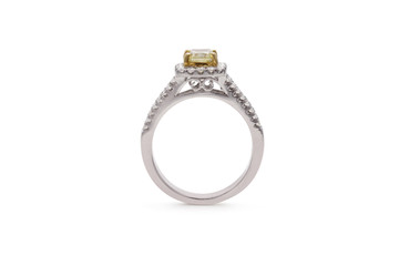 Gorgeous Cushion Cut Yellow Diamond Ring with Baguette Side Diamonds