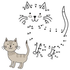 Connect the dots to draw the cute cat and color it