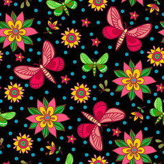 Bright seamless pattern with flowers and butterflies in vector.