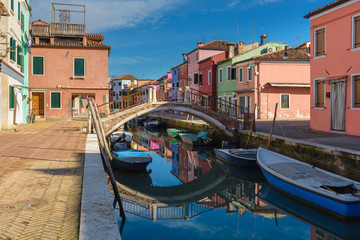 Beautiful corners of the lagoon of Venice and Burano in the afte