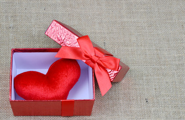 red heart in the red box for love