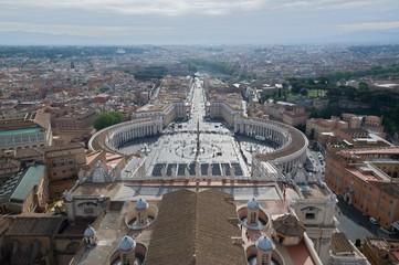 Piazza San Pietro in Vatican from  cupola of St.Peter's Basilic (Basilica Di San Pietro) , Roma, Italy