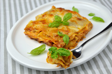 Lasagne on Plate With Fork