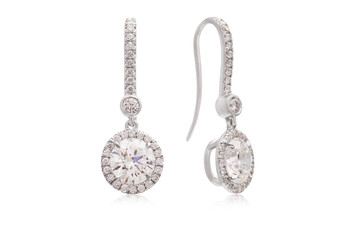 Gorgeous Round Diamond Drop Earrings with Diamond Halo