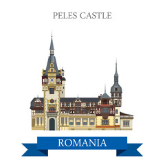 Peles Castle Romania Europe flat vector attraction landmark