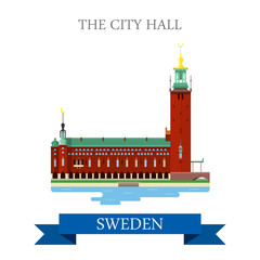 City Hall Stockholm Sweden flat vector attraction sight landmark