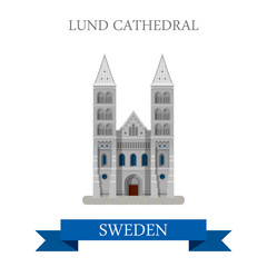 Lund Cathedral Sweden flat vector attraction sight landmark