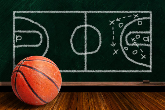 Game Concept With Rugged Basketball and Chalk Board Play Strategy