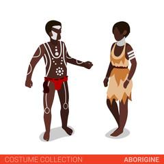 Aborigine couple flat 3d isometric costume collection