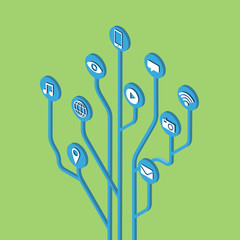 Digital tree social media communication service icon flat vector