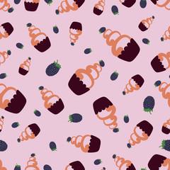 Cake with blackberries pattern.