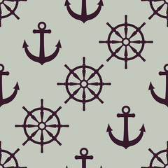 Anchor and ship wheel Nautical texture