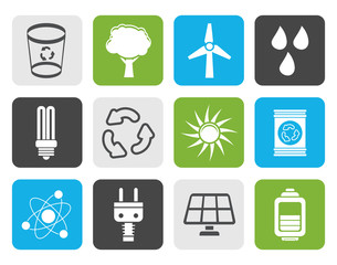 Flat Ecology, energy and nature icons - Vector Icon Set