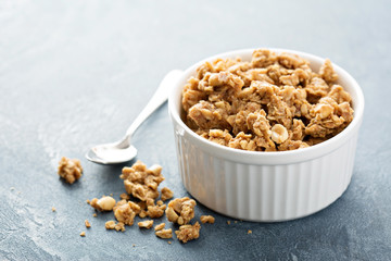 Peanut butter granola in white ramekin