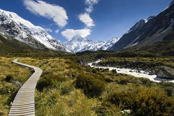 Boardwalk in the Hooker valley looking towards Mt Cook, South Island, New Zealand
