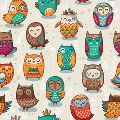 Canvas Prints Owls cartoon Seamless pattern with tribal owls