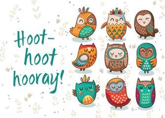 Owl tribal vector set