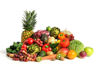 Fruits and Vegetables Over White Background